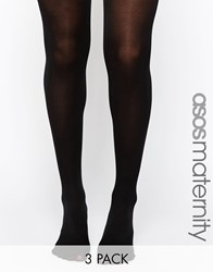 Asos Maternity 'New Improved Fit' 3 Pack 80 Denier Tights With Supportive Band Black