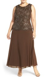 Pisarro Nights Plus Size Women's Mock Two Piece Sleeveless Gown Mocha