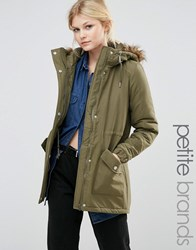 Noisy May Petite Parka Jacket With Faux Fur Trim Hood Ivy Green