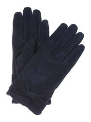 Isotoner Suedette Glove With Bow Detail Navy