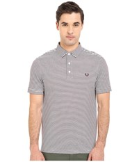 Fred Perry Fine Stripe Shirt White Mahogany Stripe Men's Short Sleeve Pullover Gray
