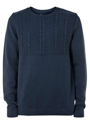 Topman Navy Cable Yoke Crew Neck Jumper Blue