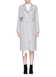 Comme Moi Frayed Wool Blend Belted Trench Coat Grey