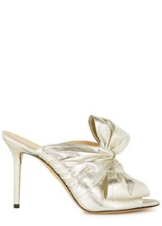 Charlotte Olympia Ilona Silver Bow Embellished Lame Mules