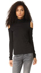 Pam And Gela Cold Shoulder Turtleneck Black