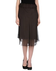 Love Sex Money Collection Knee Length Skirts Dark Brown
