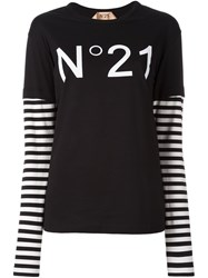 N 21 No21 Striped Sleeve T Shirt Black