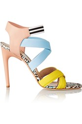 Msgm Elasticated Grosgrain And Leather Sandals Nude