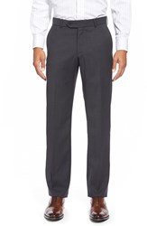 Men's Big And Tall Ballin Flat Front Solid Wool Trousers Charcoal