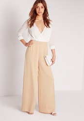 Missguided Satin Wide Leg Trousers Nude Brown