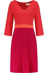 Goat Color Block Wool Crepe Dress Red