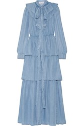 Sonia Rykiel Ruffled Tiered Tencel Chambray Maxi Dress Light Denim