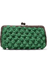 M Missoni Woven Faux Raffia Clutch Green