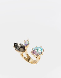 Little Mistress Triple Stone Open Ring Gold
