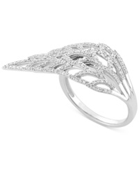 Wrapped Diamond Feather Ring 1 2 Ct. T.W. In 10K White Gold No Color