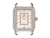 Michele Deco Ii Mid Diamond Rose Gold Diamond Dial Watch Two Tone White Mother Of Pearl Watches Silver