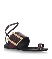 Burberry Buckle Detail Snakeskin Sandals Female Wine