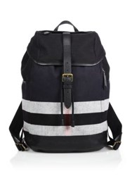 Burberry Canvas And Leather Check Backpack Black