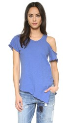 Lna Cut Out Shoulder Tee Summer Blue