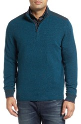 Robert Graham Men's Terzo Quarter Zip Sweater Heather Teal