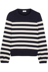 Saint Laurent Striped Cashmere Sweater Navy