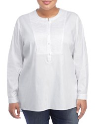 Nydj Plus Plus Pleated Bib Tunic Optic White