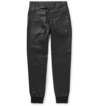 Paul Smith Slim Fit Coated Linen Trousers Black