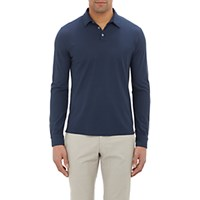 Zanone Men's Slub Polo Shirt Navy