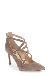 Vince Camuto Women's Vinca 'Neddy' Pointy Toe Pump Stone Taupe Suede