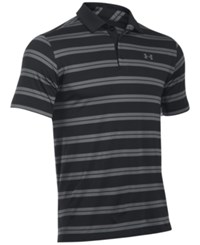 Under Armour Men's Groove Striped Golf Polo Blk Blk Gp