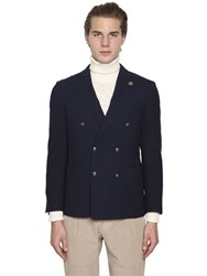 Lardini Double Breasted Textured Wool Jacket