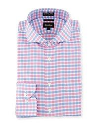 Neiman Marcus Trim Fit Non Iron Check Dress Shirt Pink Blue