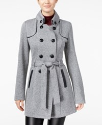Amy Byer Bcx Juniors' Double Breasted Military Coat Grey