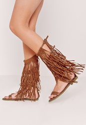 Missguided Fringe Detail Knee High Flat Gladiator Sandals Tan Brown