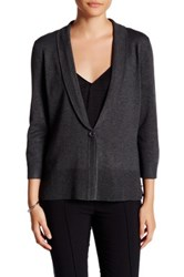 Cable And Gauge Shawl 3 4 Length Sleeve Cardigan Gray