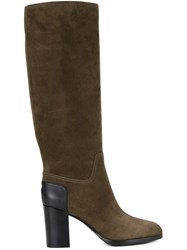 Sergio Rossi Knee High Boots Green