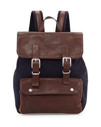 Buffalo Leather Backpack Navy Brown Brunello Cucinelli