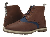 Brogue Boot Chestnut Brown Full Grain Leather Navy Herringbone Men's Lace Up Boots