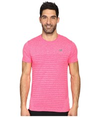New Balance M4m Seamless Short Sleeve Top Bright Cherry Heather Men's Short Sleeve Pullover Black