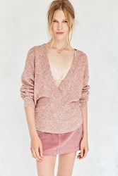 Silence And Noise Cozy Surplice Sweater Peach