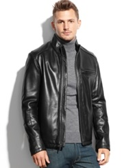 Cole Haan Smooth Leather Jacket Black