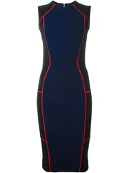 Victoria Beckham Block Colour Tube Dress Blue