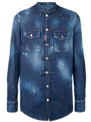 Dsquared2 Collarless Denim Shirt Blue