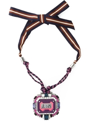 Lanvin 'Timeless' Watch Pendant Necklace Pink And Purple