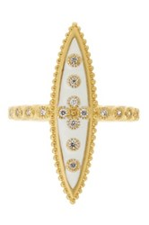 Freida Rothman 14K Gold Plated Sterling Silver White Enamel Cz Pointed Ring Metallic