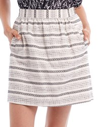 Paper Crown Striped A Line Skirt Beige