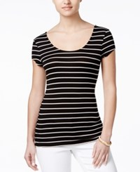 Ultra Flirt Juniors' Short Sleeve T Shirt Black White Stripe