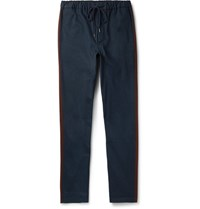 Fanmail Drawstring Organic Cotton Twill Trousers Navy