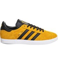Adidas Gazelle Lace Up Suede Trainers Gold Black Gold