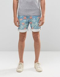 Bellfield Floral Printed Shorts With Belt Blue